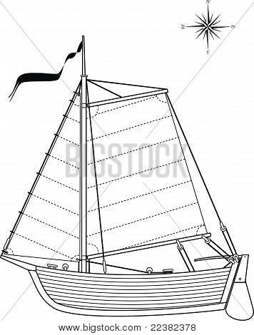 Sailing vintage boat