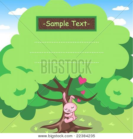 Vector Illustration of Memopad Design About The Love of Nature Hugging A Tree