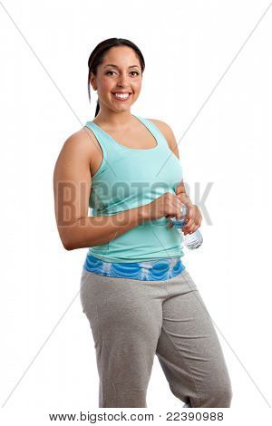 Smiling Happy Plus Size Model Holding Water Bottle before Exercise on Isolated White Background