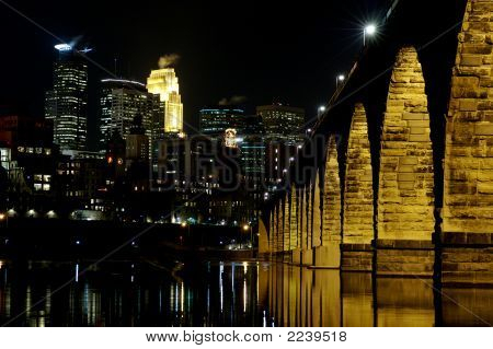 Minneapolis At Night With The Stone Arch Bridge