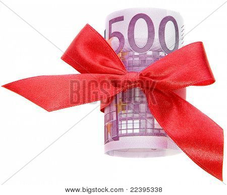 euro with a red bow