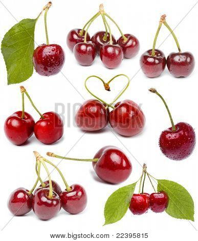 collection cherry , isolated on white background