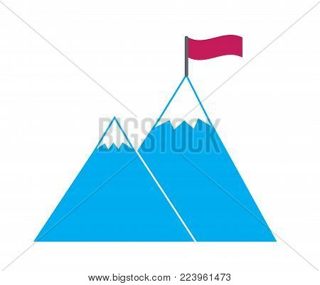 poster of hight sharp snow covered blue mountains with red flag simple vector icon symbol of goal concept achieve reach the target overcome obstacles