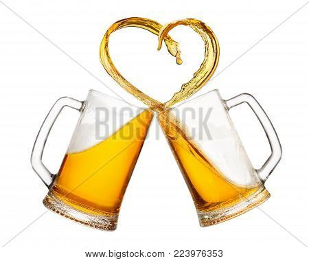 poster of mugs of beer toasting creating splash isolated on white background. Cheers. Pair of beer mugs making toast. Beer up. Love beer concept