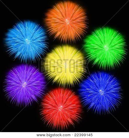 set of  beautiful fireworks