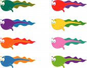 picture of tadpole  - 8 cartoon swimming tadpoles  - JPG