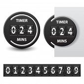 picture of count down  - vector countdown round mechanical timer - JPG