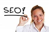 Business Woman Writing The Word Seo