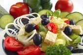 foto of greek food  - Close up of home made greek salad and vegetables - JPG