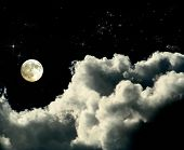 picture of full_moon  - a magic full moon night whit clouds and shining stars - JPG