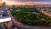 Sunset Scence Of Bangkok Skyline Panorama poster