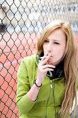 Teenage girl smoking