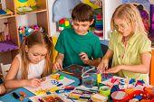 Child dough play in school. Plasticine for children. Mold from plasticine in kindergarten. Kids knea poster