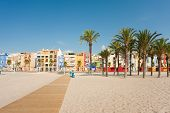 stock photo of beachfront  - Villajoyosa beachfront with its traditional fishing quarter houses - JPG