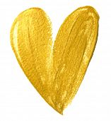 Valentine heart gold paint brush on white background. Golden watercolor painting of heart shape for  poster