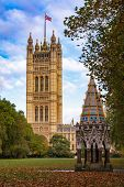 Buxton Memorial Fountain, a memorial and drinking fountain in Victoria Tower Gardens public park wit poster