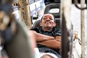 Lazy Worker Relaxing on Forklift poster