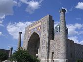 stock photo of samarqand  - A photo of the Rigastan in Samarqand Uzbekistan an area listed as a World Heritage Site by UNESCO  - JPG