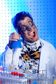 stock photo of mad scientist  - Medical theme - JPG