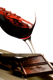 image of red wine  - Gastronomy image wtihe red wine and chocolate - JPG