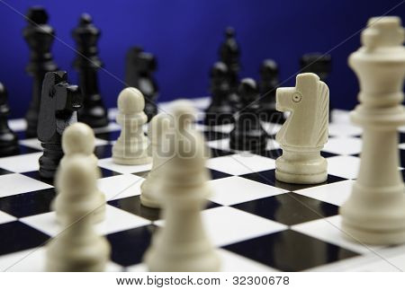Chess concept. focused on horse.
