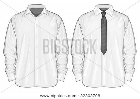 Vector illustration of dress shirt (button-down) with neckties. Front view