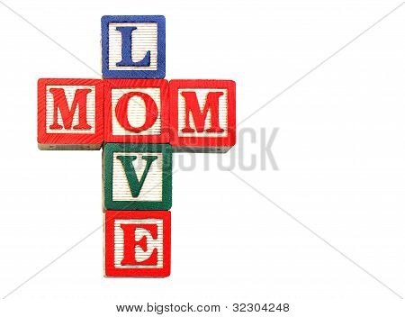 Old Blocks Stacked To Read Love Mom