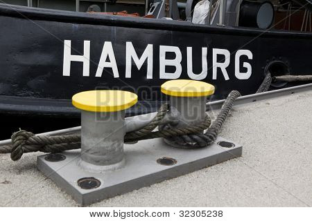 Detail of tugboat at the pier in Hamburg
