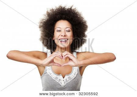 Beautiful young woman making a heart with hands, isolated on white
