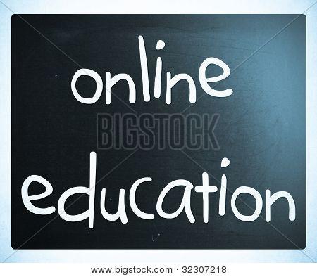 """""""online Education"""" Handwritten With White Chalk On A Blackboard"""