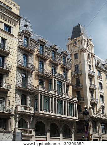Building Frontage Under A Storm Sky, Barcelona Center , Spain