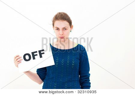 portrait young woman with board OFF