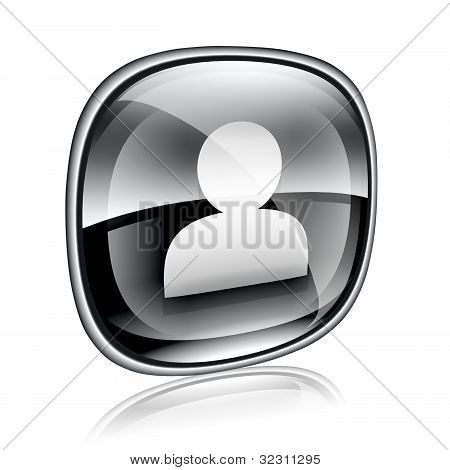 User Icon Black Glass, Isolated On White Background
