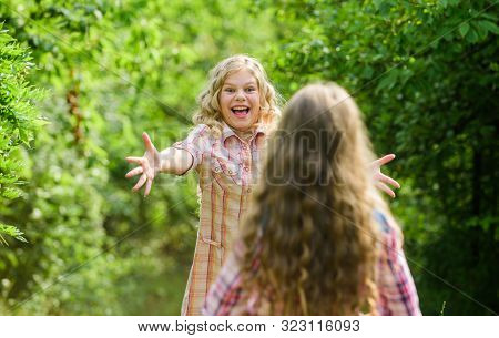poster of Long-awaited Meeting. Happy Little Girls With Long Healthy Hair. Hair Health And Care. Hairdresser F