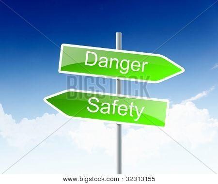 Dois sinais de trânsito, com palavras de negócios contra o céu azul