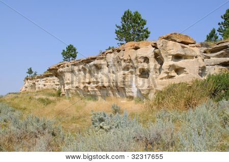 historic buffalo jump cliff formation