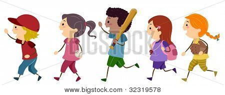 Illustration of Kids Off to Play Baseball