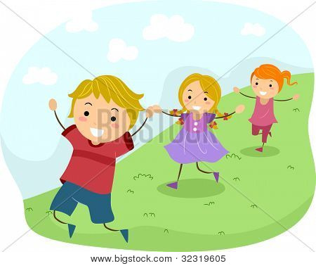 Illustration of Kids Running Downhill