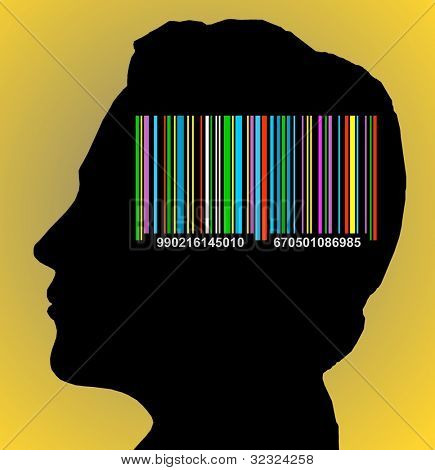 Colorful  barcode on the head