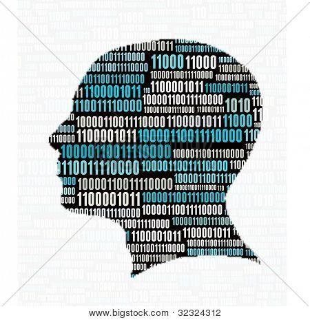Head profile with binary code