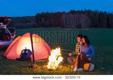 Tent Camping Car Couple Romantic Sitting By Bonfire Night Countryside Poster