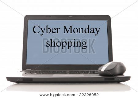 Cyber Monday Shopping Caption On Computer Screen