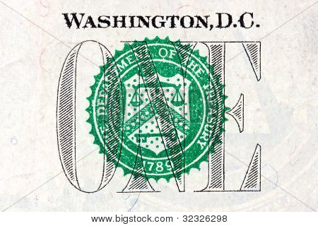 Detail Of One Dollar Bill