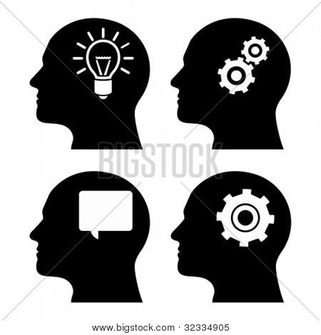 Human head with gears and light bulb. Concept of human thinking.