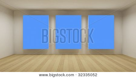Business room, 3d art with empty space, three blue chroma key frames