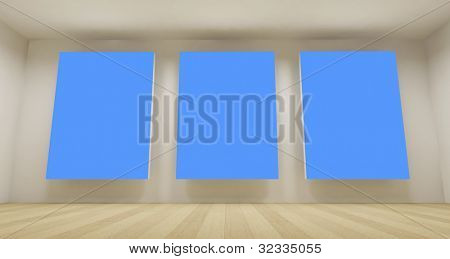 Clean school room with three blue chroma key backdrop, 3d art concept, clean space