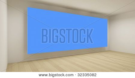 Empty space with blue chroma key backdrop, 3d art concept, clean business room