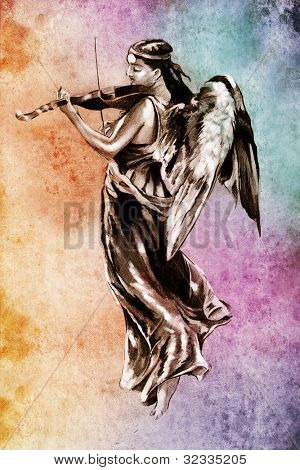 Sketch of tattoo art, angel with violin over colorful background