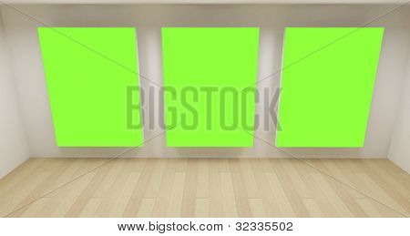 Clean school room, empty 3d space with three green chroma key frames