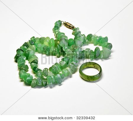 Nephrite Necklace With A Ring.
